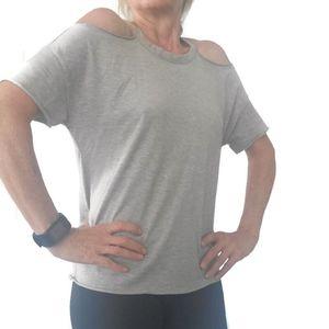TOPSHOP cold shoulder heather gray tee shirt